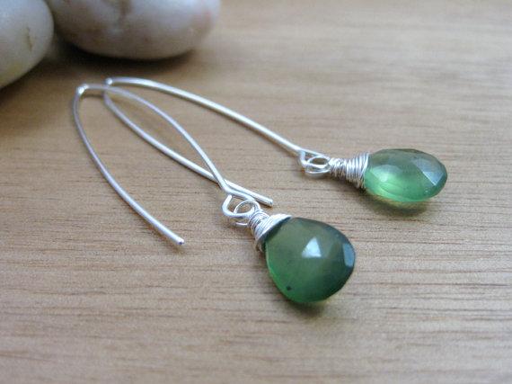 Serpentine Earrings Sterling Silver Dangle Earrings Green Gemstone Earrings Minimalist Earrings Minimalist Jewelry