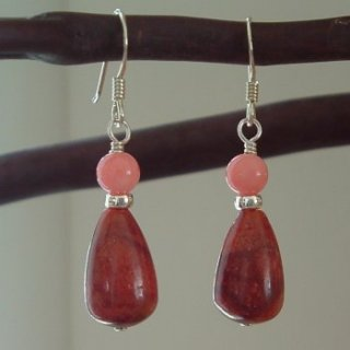 Silver Coral Beads earrings