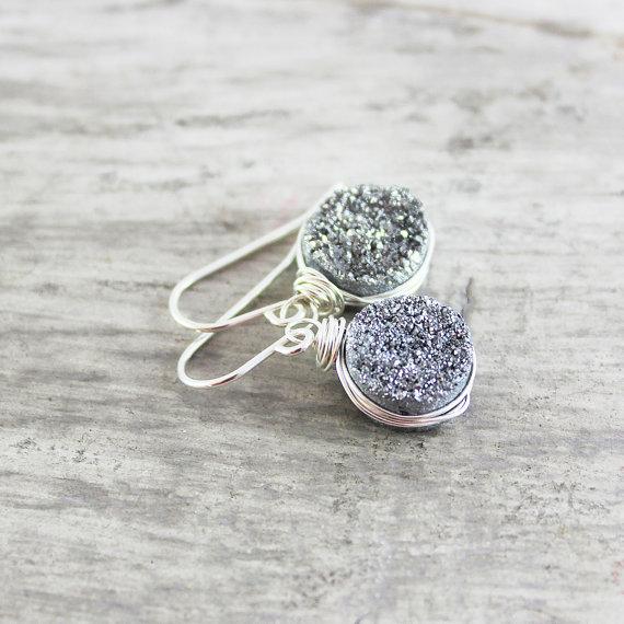 Silver Druzy Earrings, Wire Wrap Earrings, Druzy Gemstone Earrings, Sterling Silver Earrings, Silver Drusy Jewelry, Silver Dangle Earrings