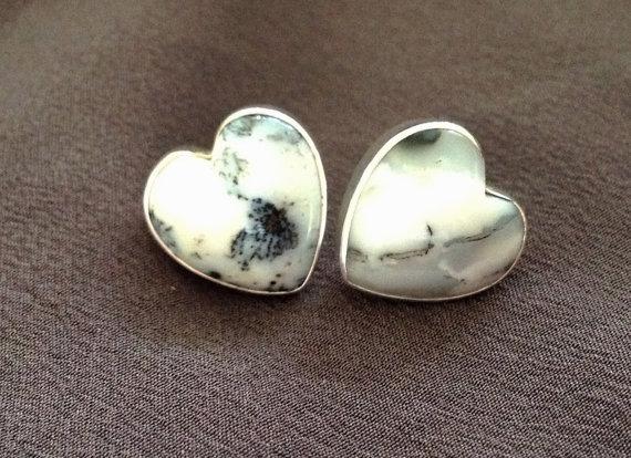 Silver Heart Earrings- Sterling Silver Heart Stud Earrings- Gemstone Earrings- Heart Earrings- Post Earrings- Heart Studs-