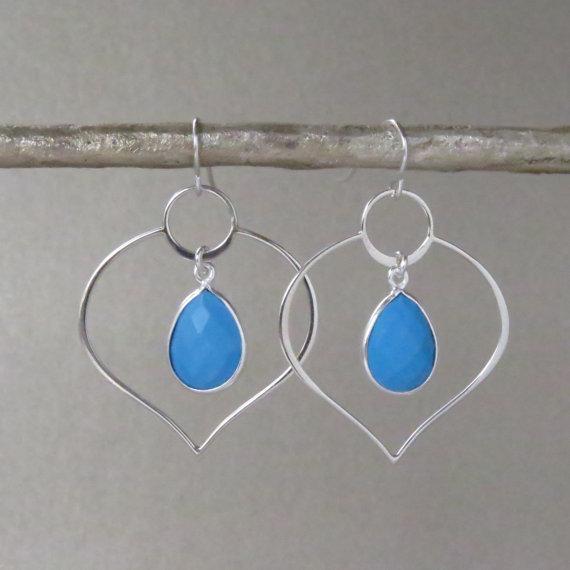 Silver Lotus Turquoise Earrings - Silver Hoop Earrings - Hoop Earrings