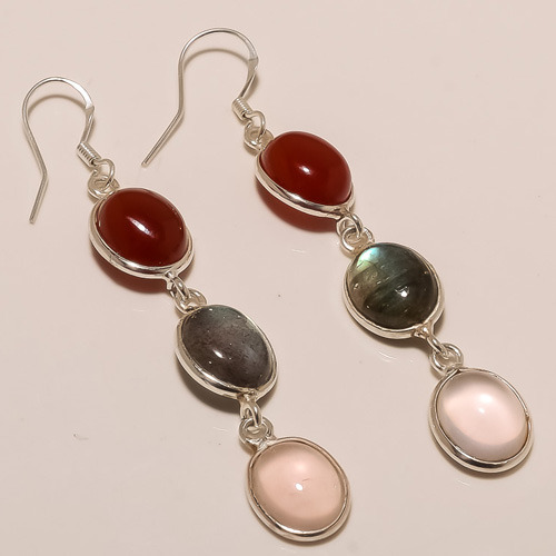 Silver Multi Three Gemstones Design Dangle Earring