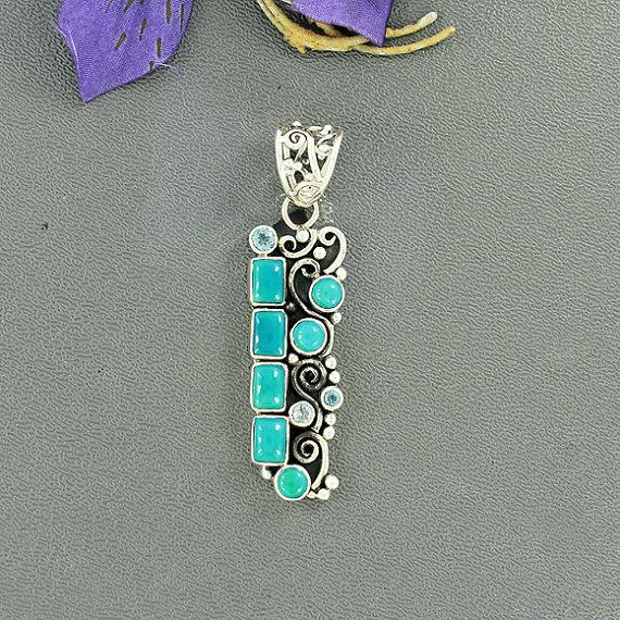 Sleeping Beauty Arizona Turquoise, Blue Topaz Gemstone Pendant, Cocktail Pendant, Fine Gift Jewelry, 925 Sterling Silver Pendant