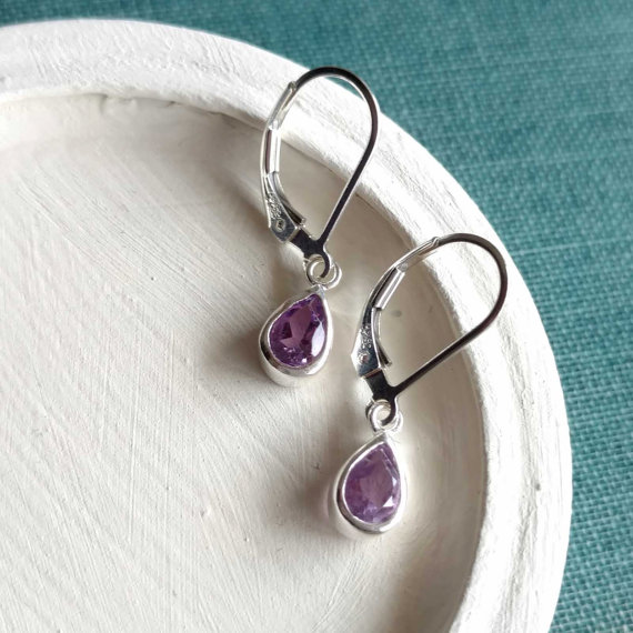 Small Amethyst Earrings, Purple Gemstone Dangle Earrings, Amethyst Drop Sterling Silver Leverback Earrings, February Birthstone Jewelry