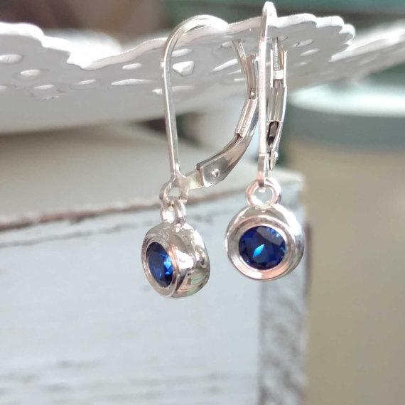 Small Sapphire Earrings, Sapphire Dangle Earrings, Jewelry Gift, September Birthstone, Blue Semi Precious Sterling Silver Gemstone Earrings