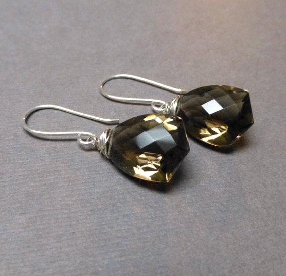 Smokey Quartz Fancy Cut Briolette Earrings. Sterling Silver. AAA Gemstone Earrings. Good Luck Earrings. Handmade Smokey Quartz Earrings.