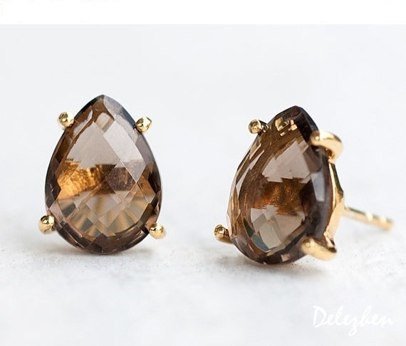 Smokey Quartz Stud Earrings - Post Earrings - Gold Stud Gemstone Earrings - Tear drop Stud - Prong Set studs