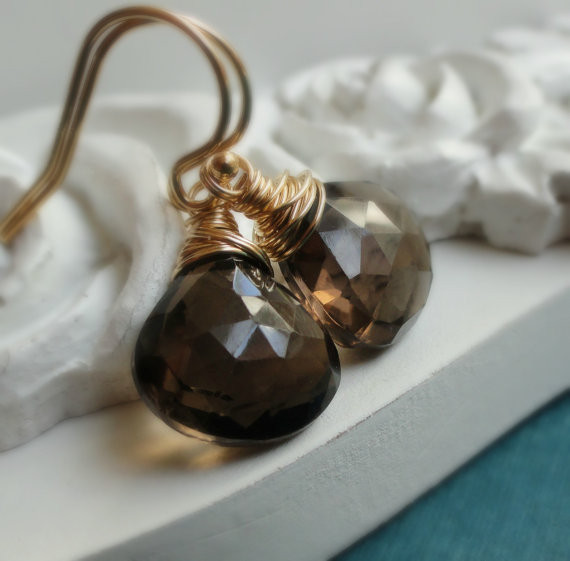 Smoky Topaz Earrings, Gold filled, wire wrapped, brown gemstone earrings, Smoky Quartz, cinnamon, fall wedding jewelry, coffee brown