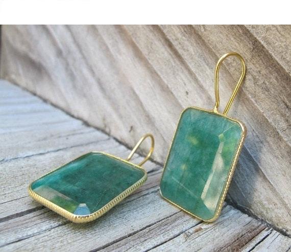 Square Emerald Earrings- Green Emerald Earring- Gemstone Earrings- May Birthstone Earrings- Gold Emerald Earrings