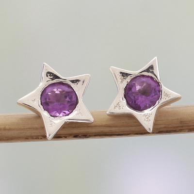 Star Shaped Amethyst and Sterling Silver Stud Earrings