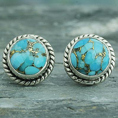 Sterling Silver Composite Turquoise Stud Earrings
