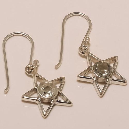 Sterling Silver Green Amethyst Earring
