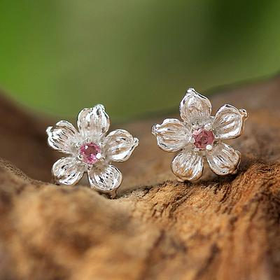 Pink Tourmaline Floral Stud Earrings