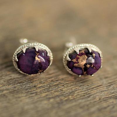 Purple Composite Turquoise Stud Earrings