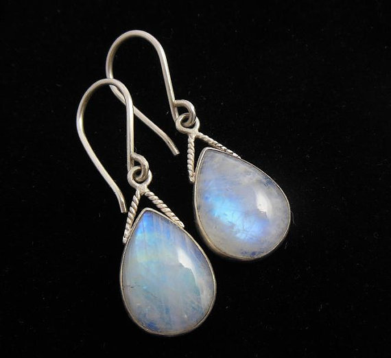 Sterling Silver Rainbow moonstone earrings - Dangle earrings - Bezel set earrings - Cabochon earring - Gemstone earrings