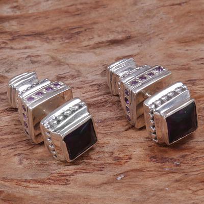 Faceted Amethyst Stud Earrings