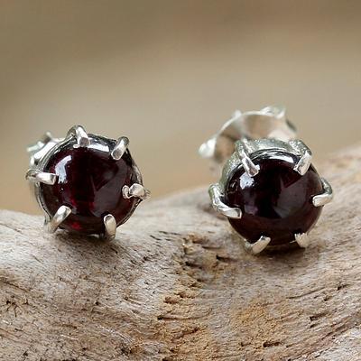 Sterling Silver and Garnet Stud Earrings