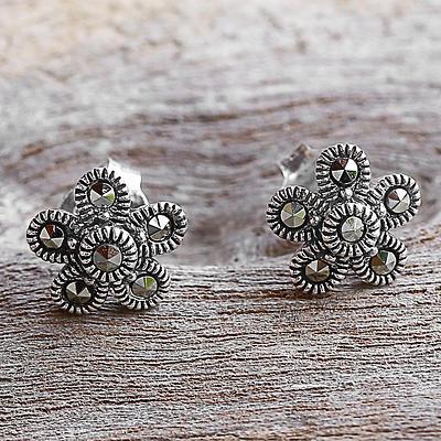 Sterling Silver and  Flower Stud Earrings