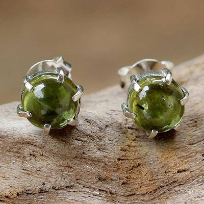 Sterling Silver and Peridot Stud Earrings