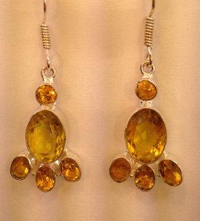 Sterling Silver earrings-9.25-silver-Citrine Gemstone earring-Chandelier-Cluster-Lariat-Cocktail-Handmade earrings-Statement-Dangle Earrings