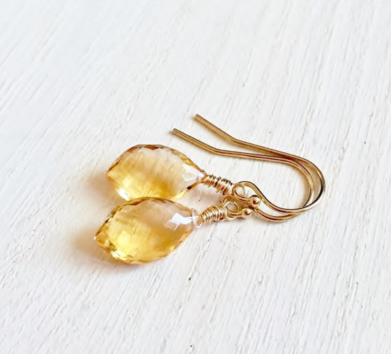 Stunning Citrine Briolette Earrings, Gemstone Earrings with 14K Gold Fill, Micro Faceted Gemstones, Citrine Earrings, Dangle