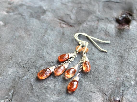 Sunstone Earrings Cascade Gemstone Earrings Sterling Silver Orange Summer Gems
