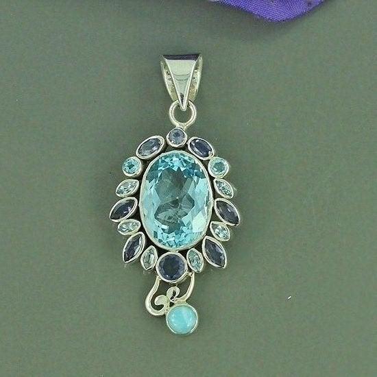 Swiss Blue Topaz, Iolite & Dominican Larimar Multi Gemstone Pendant, Solid 925 Sterling Silver Pendant, Bezel Filigree Gift Pendant Jewelry