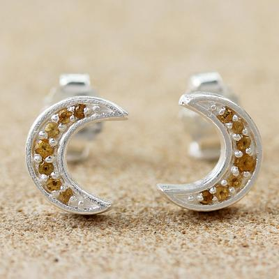 Silver and Citrine Crescent Moon Stud Earrings
