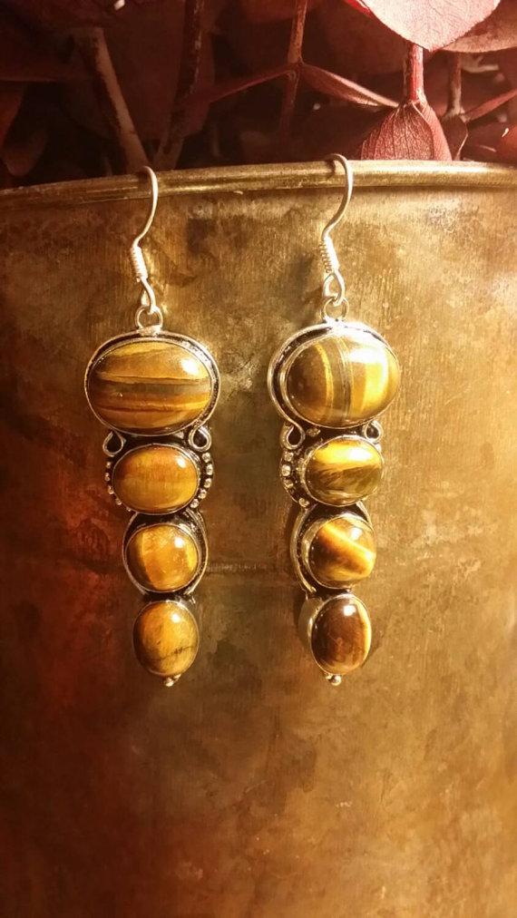 Tiger Eye Earrings .925 Sterling Silver Ethnic Boho Multistone Beaded GemStone Indian Style Dangle Earrings Beaded Oval