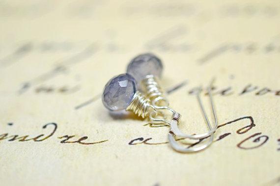 Tiny Blue Gemstone Earrings Navy Blue Water Sapphire Earrings Blue Gemstone Jewelry Sterling Silver Wire Wrapped Dangles Blue Stone Earrings