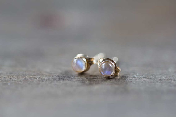 Tiny Rainbow Moonstone Stud Earrings Falak Gems