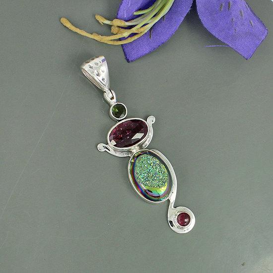 Titanium Druzy & Tourmaline Gemstone Pendant, 925 Sterling Silver Jewelry, Unique Gift Jewelry, Bezel Set Pendant Jewelry