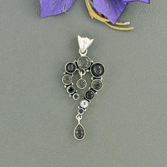 Tourmalated Quartz, Black Star Diopside Multi Gemstone Pendant, Solid 925 Sterling Silver Jewelry, Gift Gemstone Pendant Jewelry