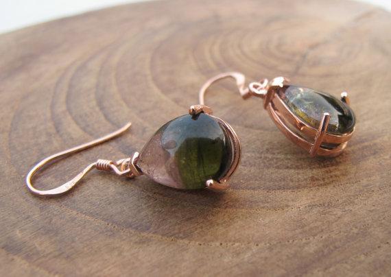 Tourmaline Earring-Watermelon Tourmaline Earrings-Rose Gold Earrings-Stone Earrings-Gemstone Earrings-Dangle Earrings