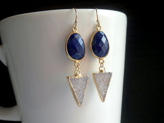 Triangle Druzy Earrings Blue Stone Earrings Double Gemstone Earrings Druzy Triangle Earrings Lapis Lazuli Earrings Long Gold Filled Druzy