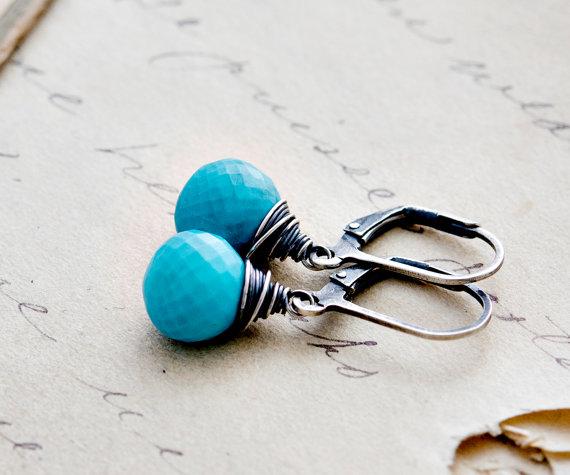 Turquoise Earrings, Dangle Earrings, Turquoise Jewelry, Drop Earrings, Wire Wrapped, December Birthstone, Gemstone Earrings
