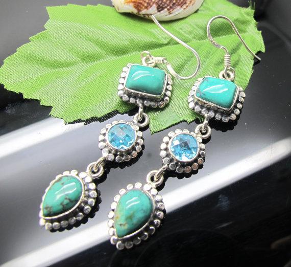 Turquoise Earrings, Peridot Earrings, Sterling Silver Earrings, Gemstone Earrings