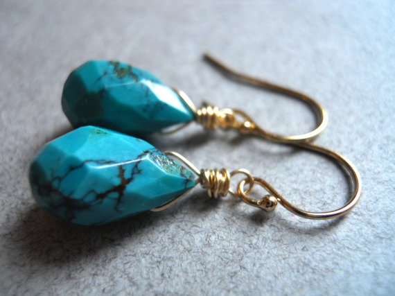 Turquoise Teardrop Earrings, Turquoise Lover Earrings , Gold, Sterling or Rose Gold, Gemstone Earrings, Dangle Earrings