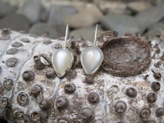 White Grey Moonstone Earrings Bezel set in Nickel Free Silver, High Quality Gemstone Jewelry, Natural Moonstone, Simple gemstone earrings