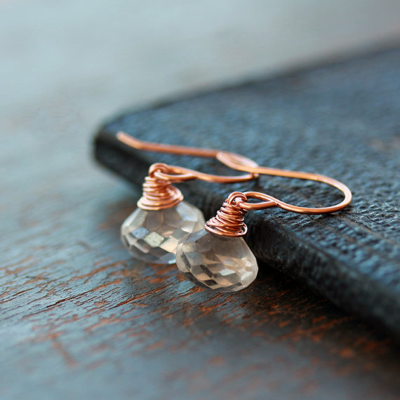 White Moonstone Earrings, 14k Rose Gold Filled, Rose Gold Earrings, Sparkly Gemstone Earrings, Gemstone Drop, For a Bride, Wedding Jewelry