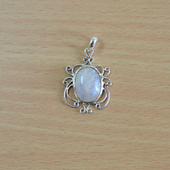 ainbow Moonstone Pendant - Oval moonstone - Gift for her Christmas Day - 925 Sterling Silver Pendant - rainbow moonstone jewelry