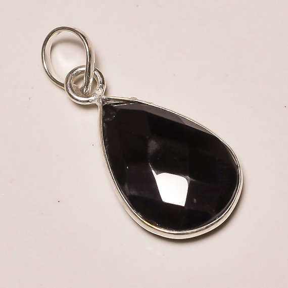 amazing faceted black onyx gemstone .925 Sterling Silver black onyx Overlay Pendants