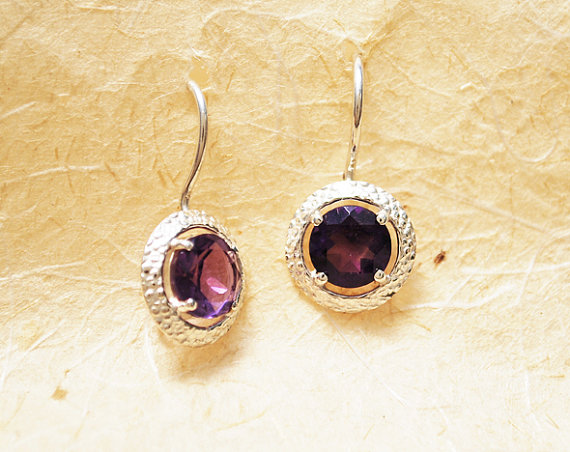 amethysts earrings , gemstone dangle earrings
