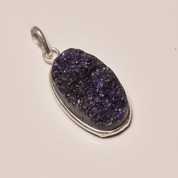 beautiful purple titanium druzy gemstone .925 Sterling Silver purple titanium druzy Overlay Pendants