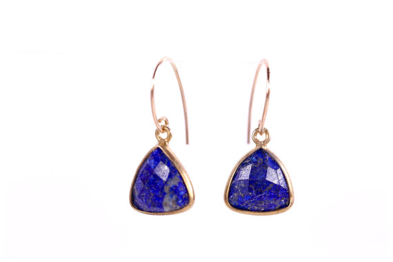 lapis lazuli bezel set triangle earring blue gemstone earring modern simple elegant earring gifts for her gifts