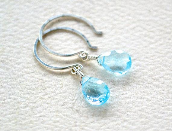 prinkle Earrings - sky blue topaz earrings, blue drop earrings, simple, handmade jewelry, blue topaz earrings, bridesmaid earrings,