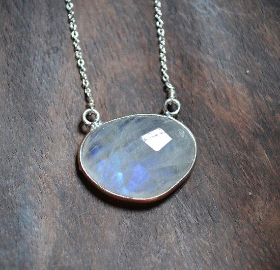 rainbow moonstone necklace  june birthstone everyday minimalist jewelry