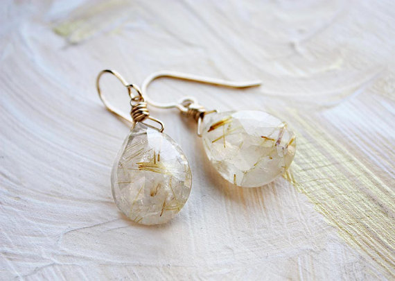 rutilated quartz earrings, teardrop earrings, gemstone earrings, 14k gold filled stone earrings, statement earrings