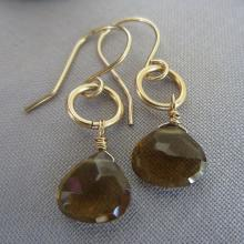 14 K Gold filled Earrings Wiskey Beer Quartz Earrings Gold filled wire Earrings Brown Earrings Gemstone Earrings
