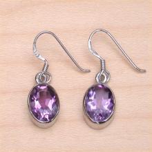 925 Amethyst Oval Earrings Sterling Silver Amethyst Drop Earrings Amethyst February Birthstone